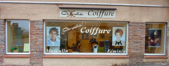Devanture chrysalide coiffure 32 pujaudran chrysalide for Devanture salon de coiffure